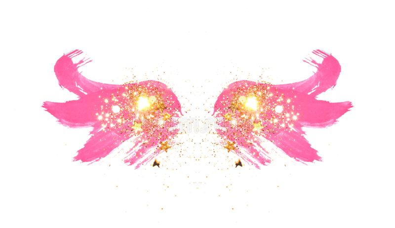 Golden glitter and glittering stars on abstract pink watercolor wings in vintage nostalgic colors vector illustration