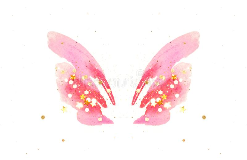 Golden glitter and glittering stars on abstract pink watercolor wings in vintage nostalgic colors stock illustration