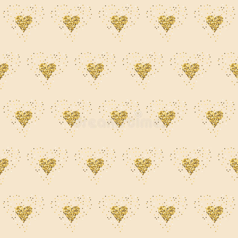 Golden glitter hearts on pink. Tiled abstract background. Endless tinsel shiny backdrop. Valentine's Day gold pat. Golden glitter hearts on pink. Tiled abstract stock illustration