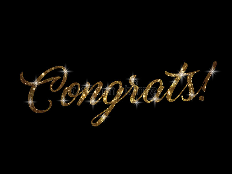 Golden glitter of isolated hand writing word CONGRATS stock illustration