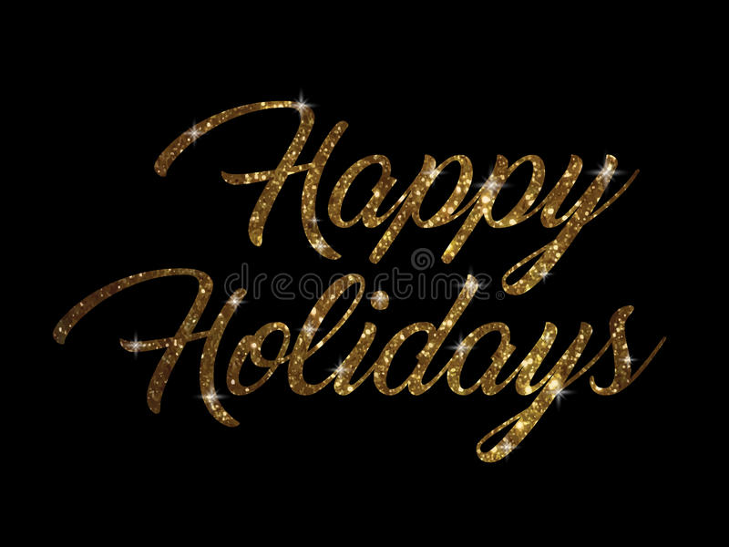 Golden glitter of isolated hand writing word HAPPY HOLIDAYS stock illustration