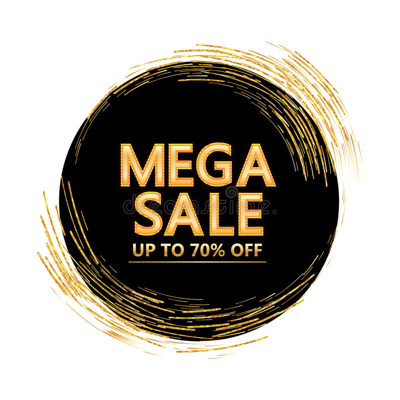 Golden glitter line circle around mega sale cover royalty free illustration