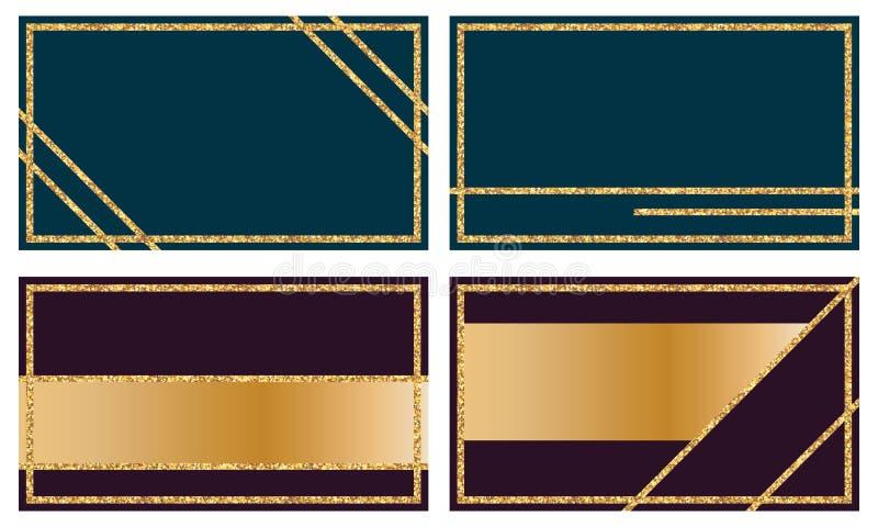 Golden glitter name card set vector illustration