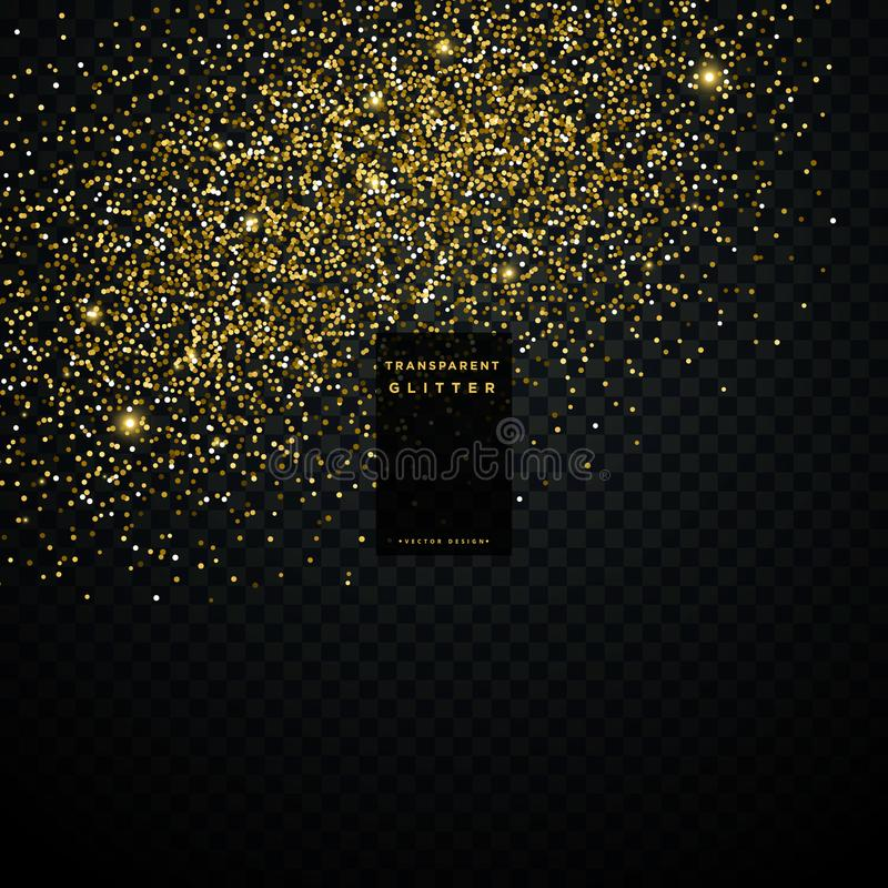 Golden glitter particle dust transparent background vector illustration