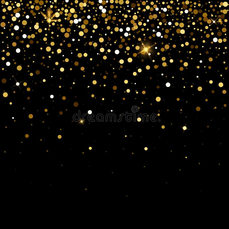 Golden glitter particles effect for luxury greeting rich background. Vector star dust sparks on transparent background. stock illustration