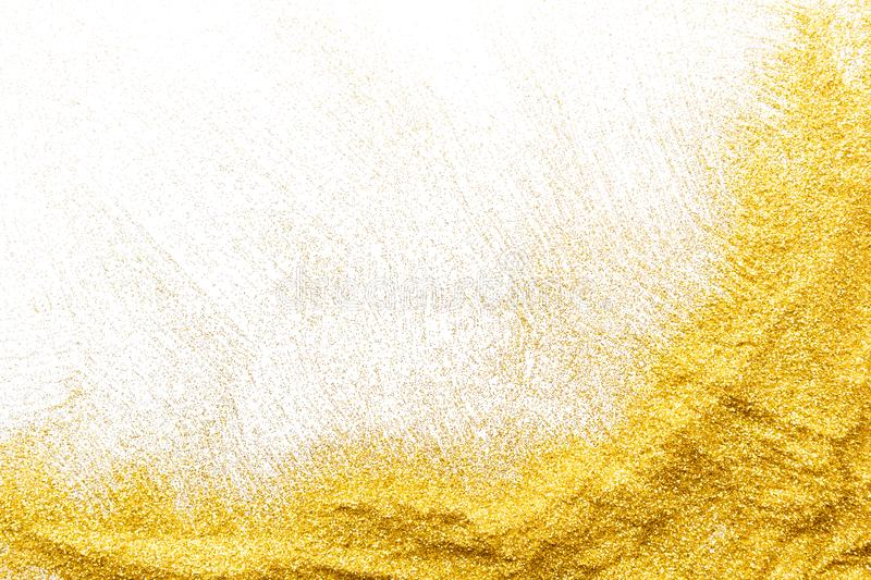 Golden glitter sand texture, abstract background. royalty free stock photography