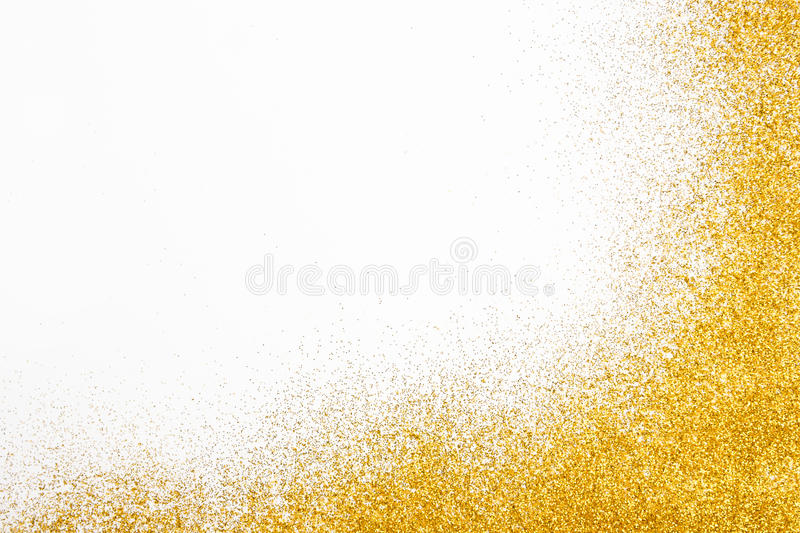 Golden glitter sand texture frame on white, abstract background. royalty free stock photos