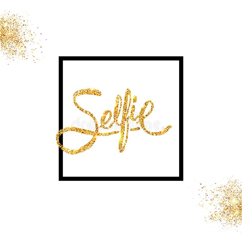 Golden glitter Selfie Concept on Off White Background. royalty free illustration