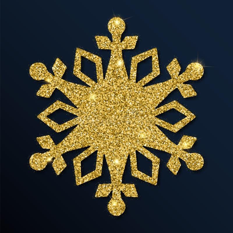 Golden glitter shapely snowflake. Luxurious christmas design element, vector illustration stock illustration