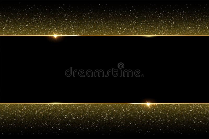 Golden glitter and shiny golden frame on black background. Vector horizontal luxury background. stock illustration