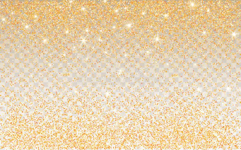 Golden glitter sparkle on a transparent background. Gold Vibrant background with twinkle lights. Vector illustration.  royalty free illustration