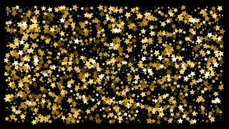Golden glitter star confetti on a black background. Illustration of a drop of shiny gold stars. Decorative element. VIP cards, invitations, gift, luxury royalty free stock images