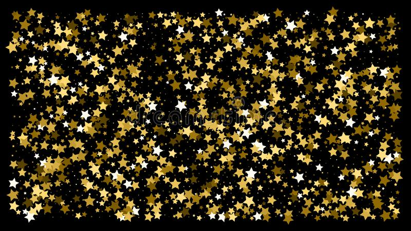 Golden glitter star confetti on a black background. Illustration of a drop of shiny gold stars. Decorative element. VIP cards, invitations, gift, luxury stock photo