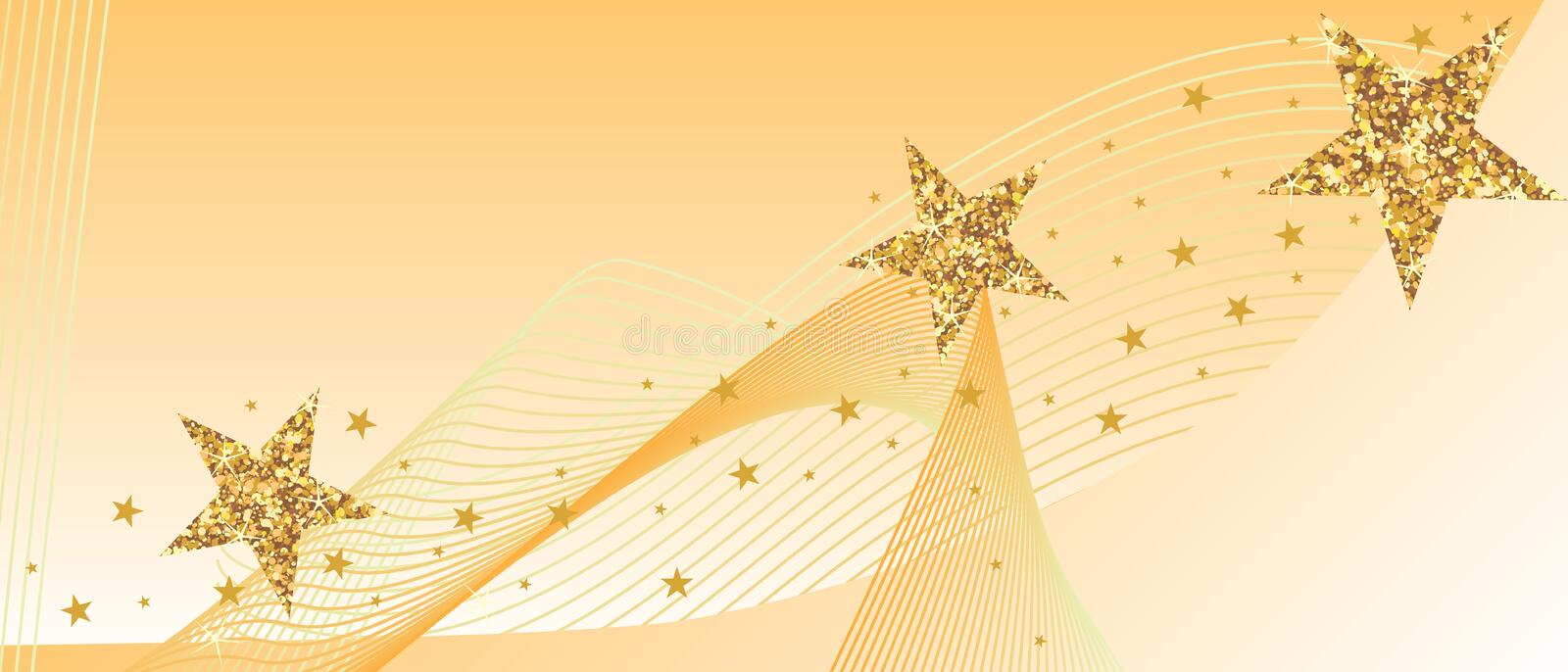 Golden glitter star line card banner vector illustration