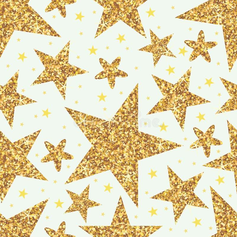 Golden glitter star seamless pattern royalty free illustration