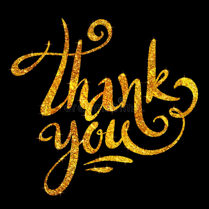 Golden glitter Thank you calligraphic vector sign on black background stock illustration