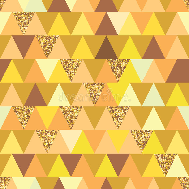 Golden glitter triangle symmetry seamless pattern royalty free illustration