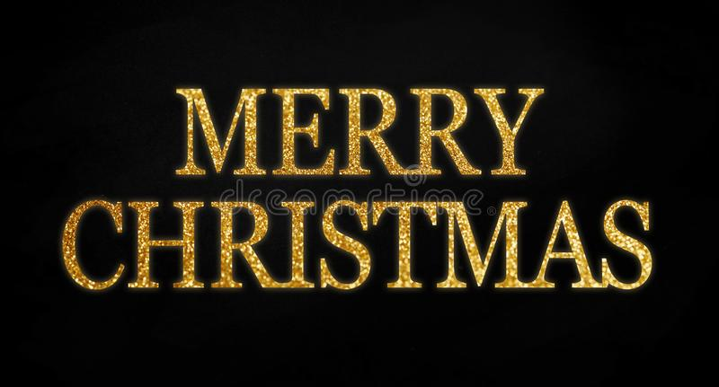 Golden glitter with word merry christmas on black chalkboard background royalty free illustration