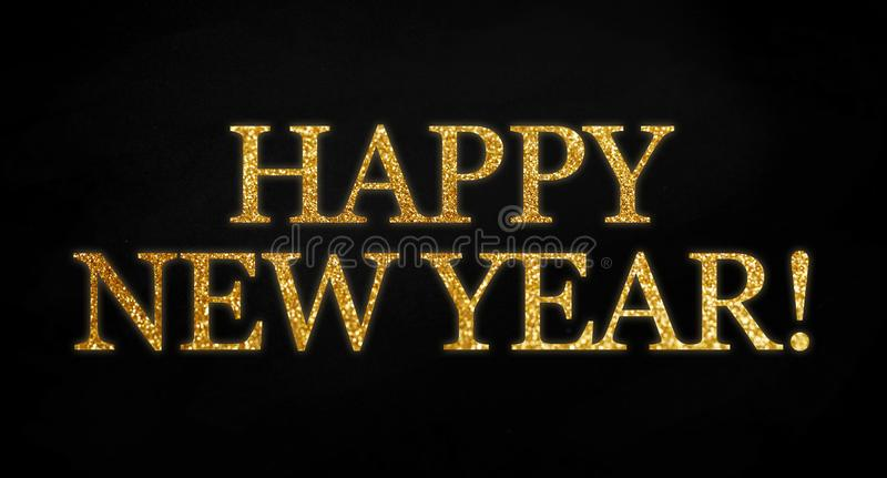 Golden glitter with the words happy new year on black chalkboard background vector illustration
