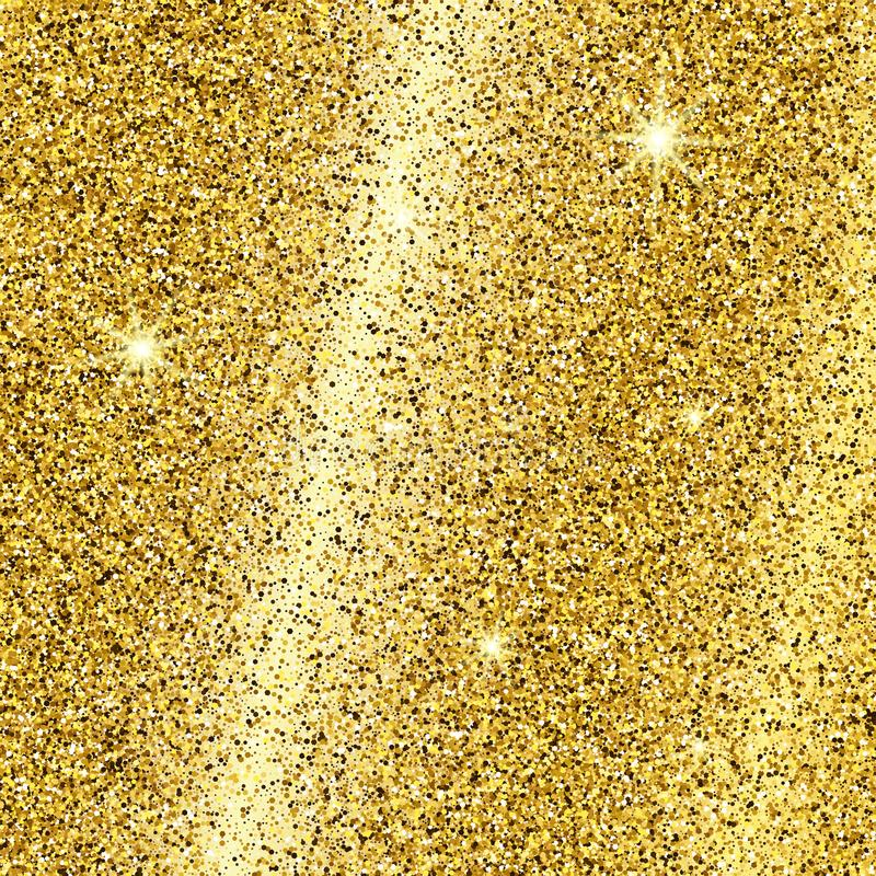 Golden glittering background with glitter effect. Golden glittering background with gold sparkles and glitter effect. Empty space for your text.  Vector vector illustration