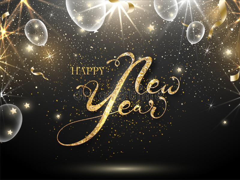 Golden Glittering Font of Happy New Year Text with White Transparent Balloons, Stars and Lights Effect. On Black Background royalty free illustration