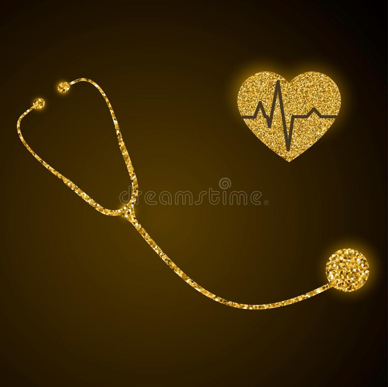 Golden glittering stethoscope and heart with pulse trace vector stock illustration