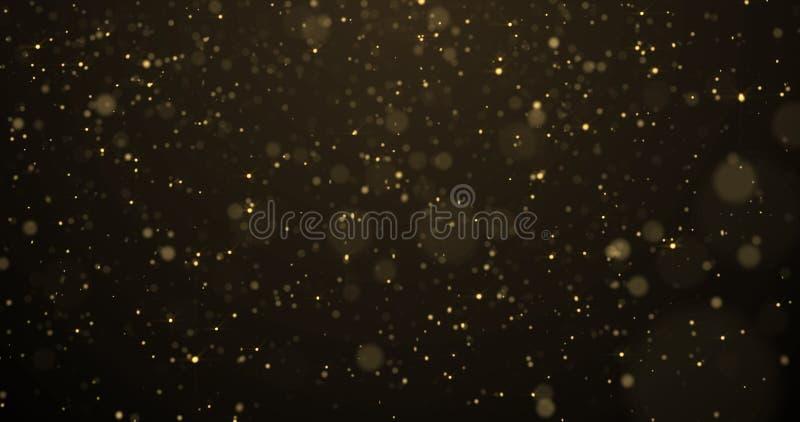 Golden glitterregen, gouden deeltjes gloeien met vallende sneeuwbolle lichteffect Gulden vonken spatten, glinsterende gloed op zw royalty-vrije stock afbeeldingen