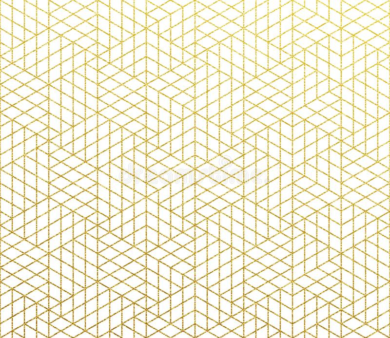 Geometric abstract vector pattern gold background stock illustration