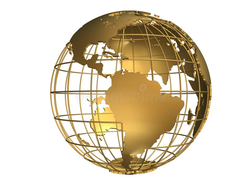 Golden globe vector illustration