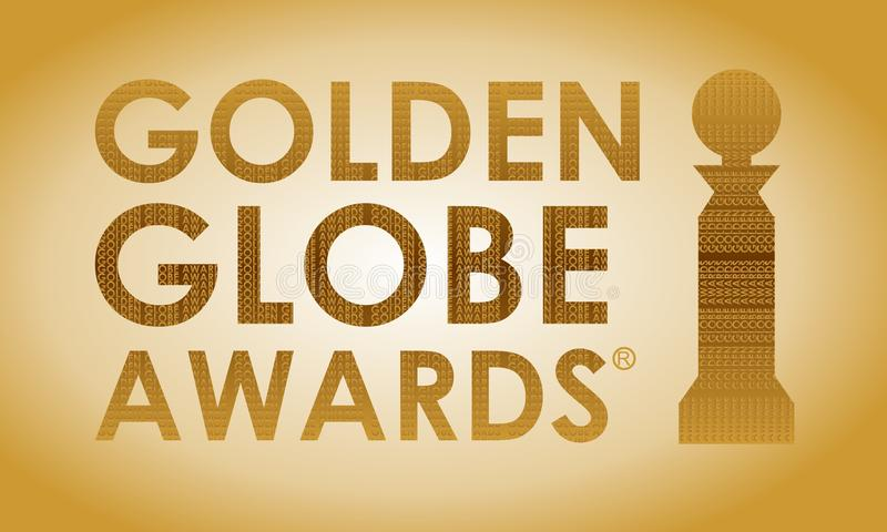 Golden Globe Awards dans la typographie photographie stock libre de droits