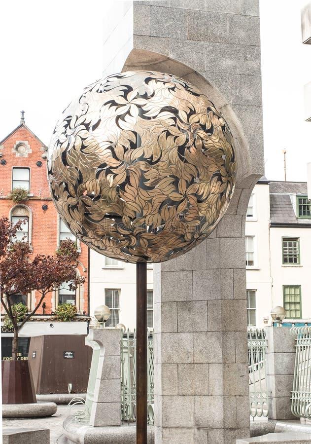 Golden globe of central bank Dublin stock images