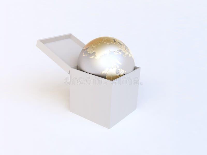 Golden Globe im weißen Geschenk-Kasten vektor abbildung