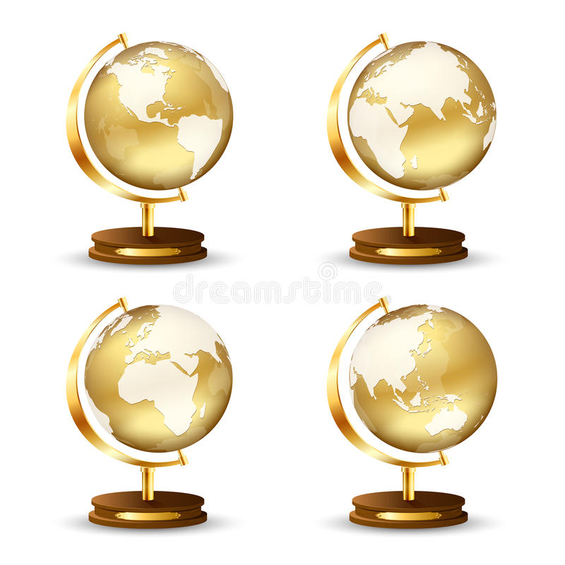 Golden globe vector illustration