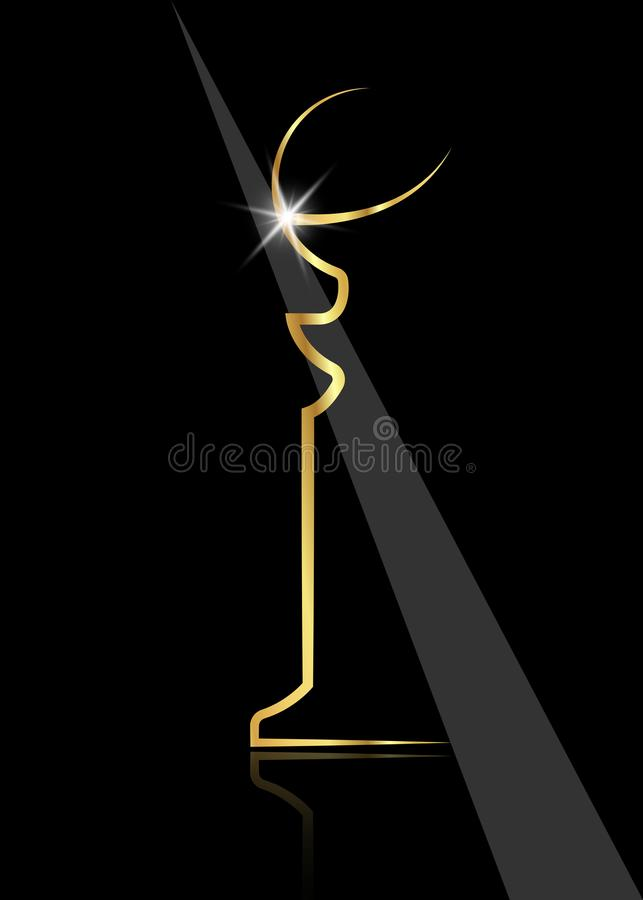 Free Golden Globe Shiny Trophy, Abstract Modern Sculpture Icon, For Sports Prize Or Business Awards Illustration Stock Photos - 110789963