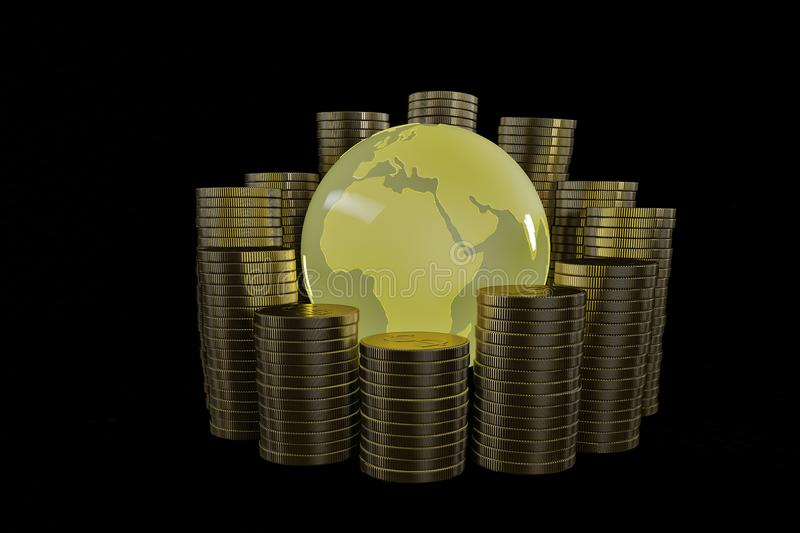 Golden globe with stack of gold coins.3D illustration. Golden globe with stack of gold coins. 3D illustration royalty free illustration