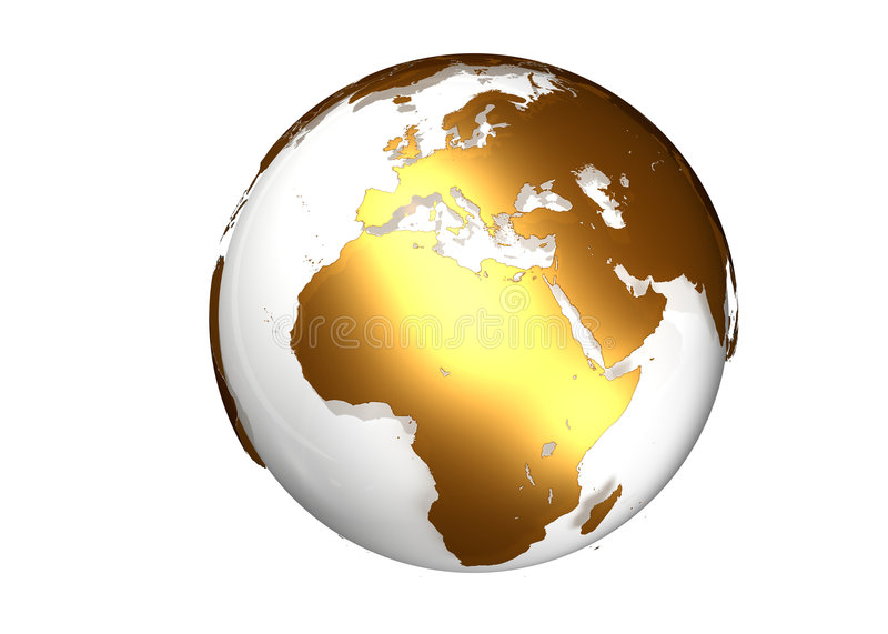 Golden globe with view on Europe and Africa stock image