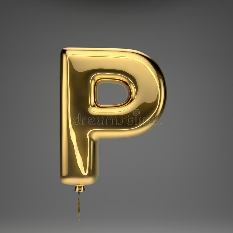 Golden glossy balloon uppercase letter P isolated on dark background vector illustration