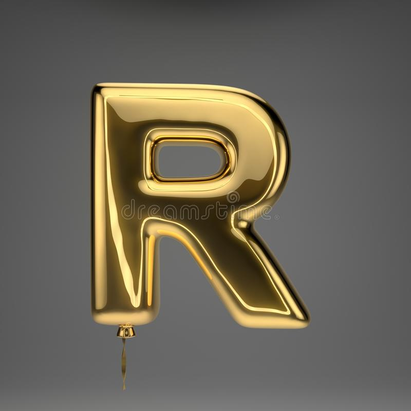 Golden glossy balloon uppercase letter R isolated on dark background vector illustration