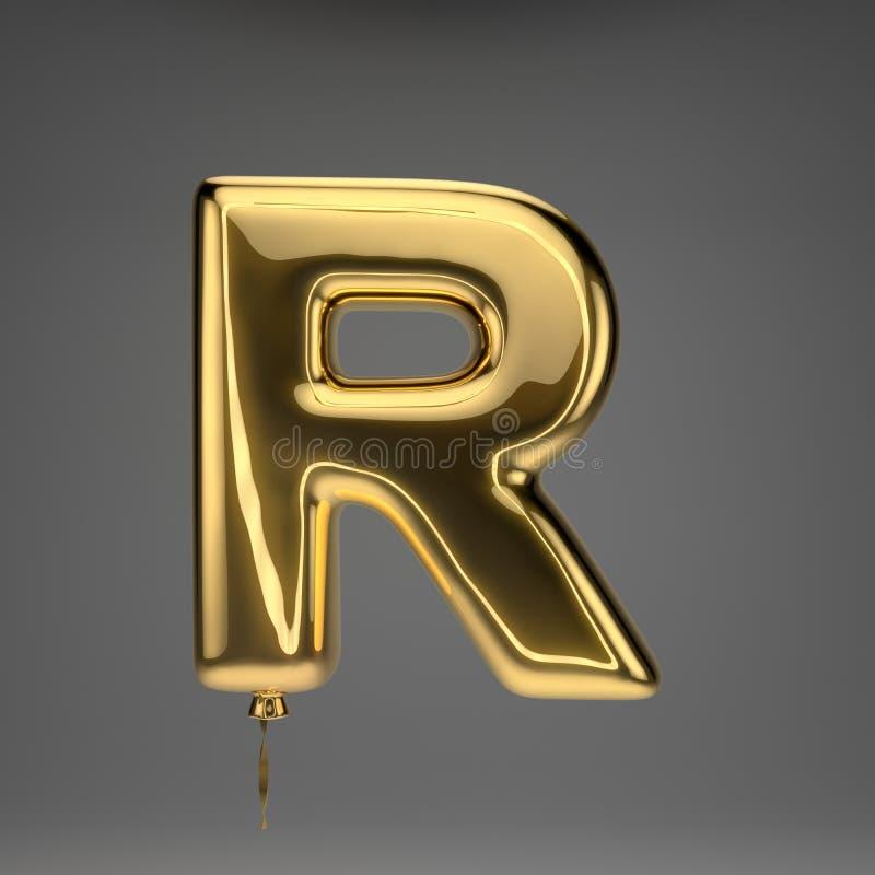 Golden glossy balloon uppercase letter R isolated on dark background vector illustration