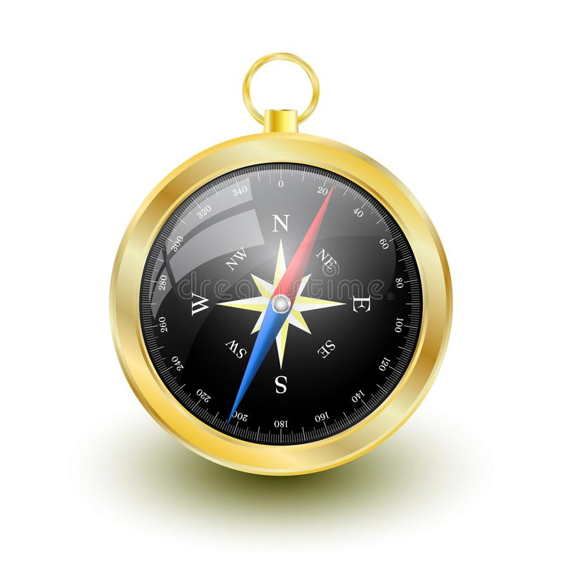 Golden Glossy Compass with windrose. Vector Illustration stock illustration