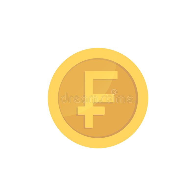 Golden glossy swiss franc coin. Gold pictograph franc shiny coin. vector illustration