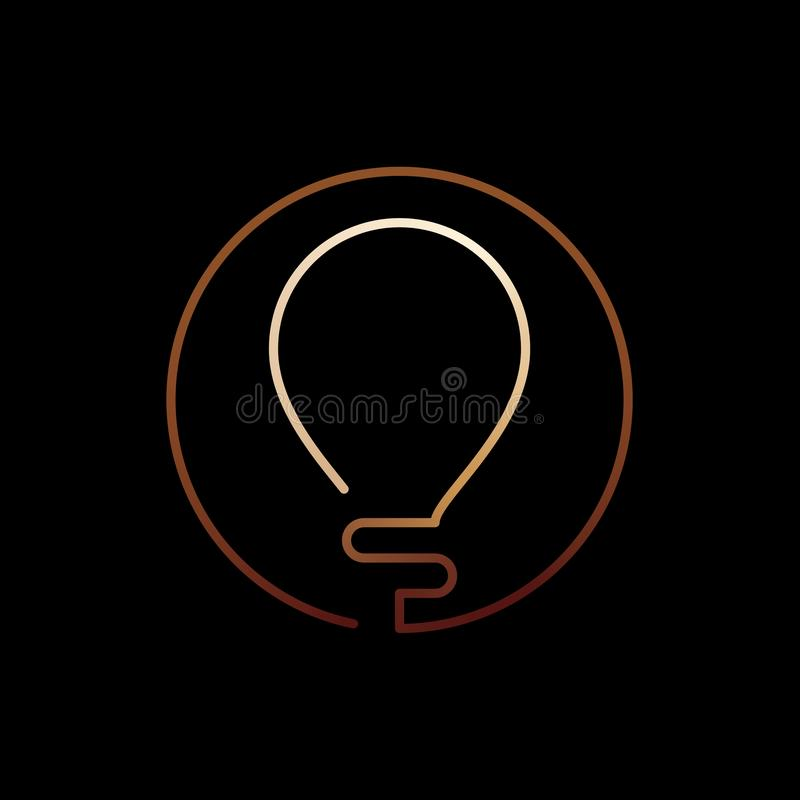 Golden glowing continuous line bulb logo royalty free illustration