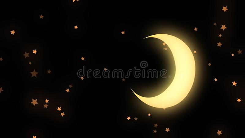 Golden glowing crescent and many stars on black background, night sky. Animation. Beautiful yellow half moon and many vector illustration