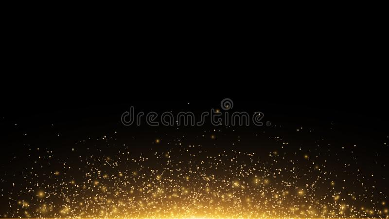 Golden Glowing Dust On A Black Horizontal Background. Backlight From ...