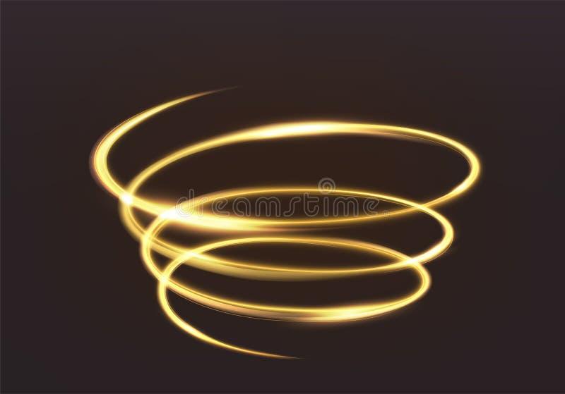 Golden glowing light, the magic brilliance of sparkling wave lin. Es. Spiral shiny flash on dark background. Illustration vector illustration