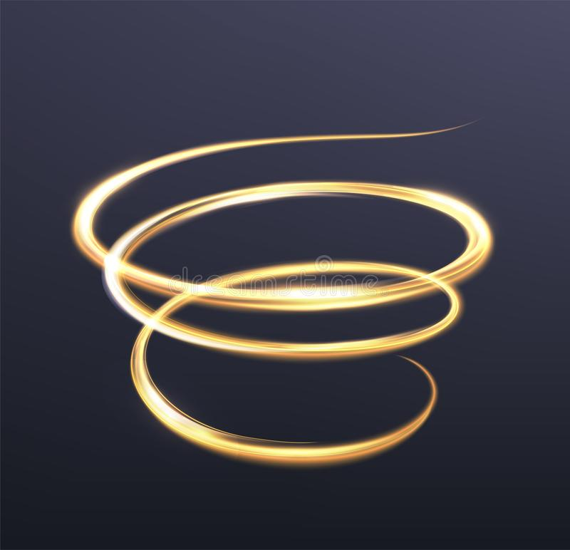 Golden glowing light, the magic brilliance of sparkling wave lin. Es. Spiral shiny flash on dark blue background. Illustration royalty free illustration