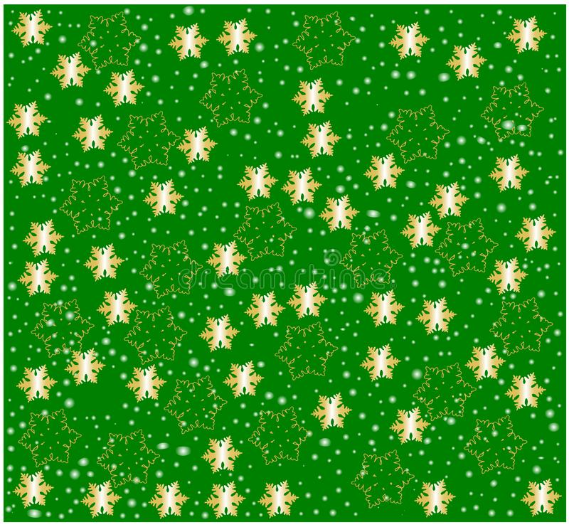 Golden glowing Snow flakes against green background vector illustration festive texture seamless pattern wrapping paper decoration stock photo