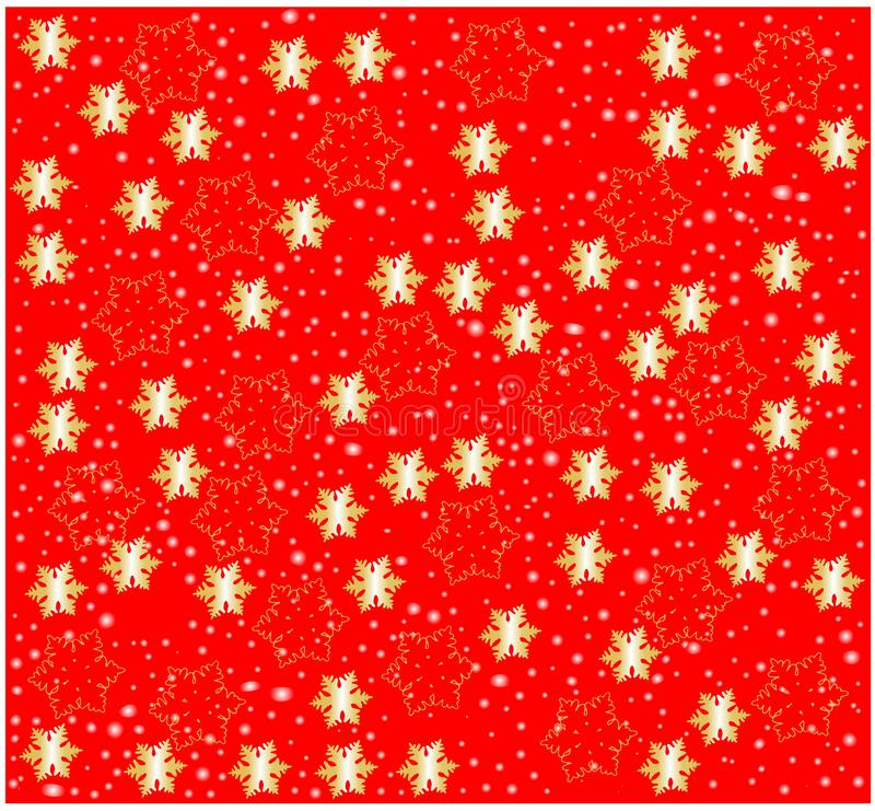 Golden glowing Snow flakes against Red background vector illustration festive texture seamless pattern wrapping paper decoration w stock photos