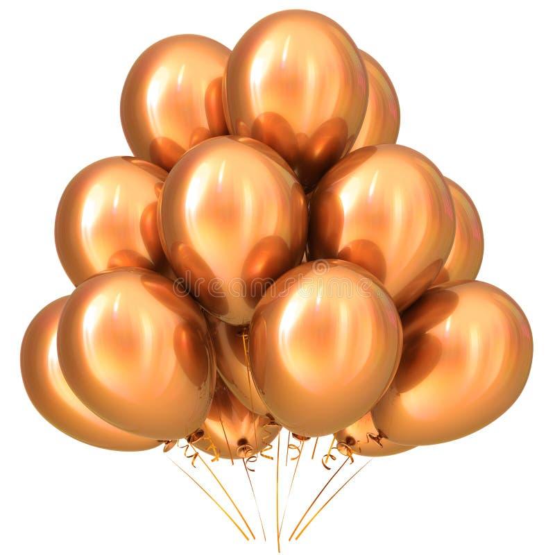 Golden gold party balloons happy birthday decoration yellow stock illustration