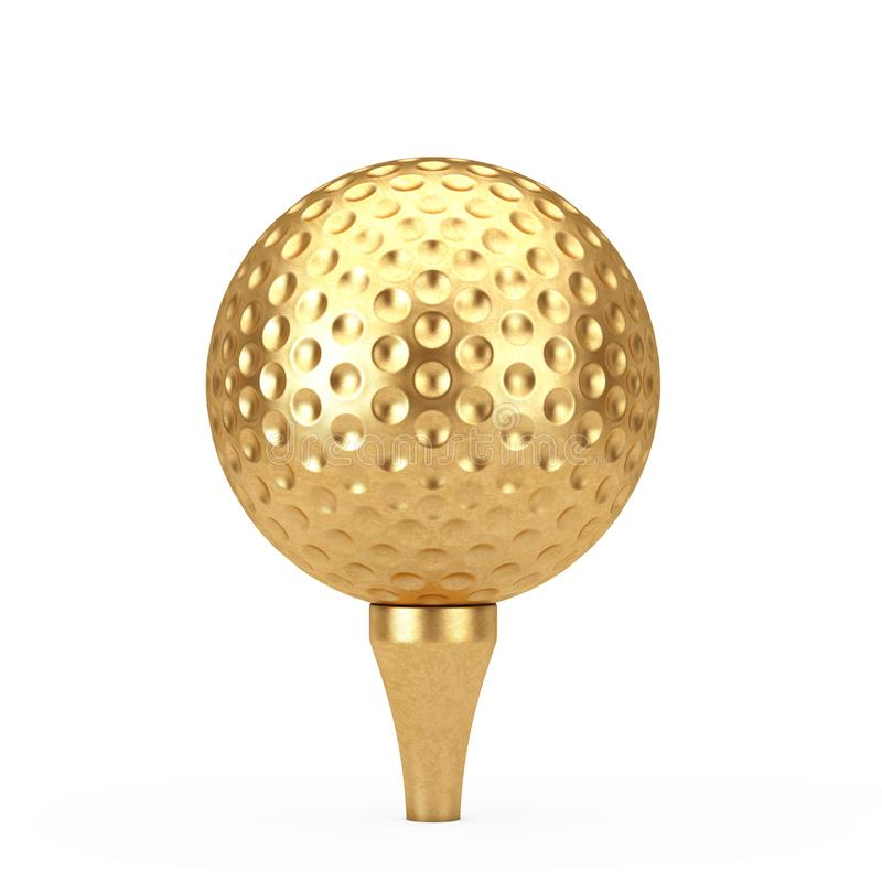 Golden Golf Ball on Tee. 3d Rendering. Golden Golf Ball on Tee on a white background 3d Rendering vector illustration